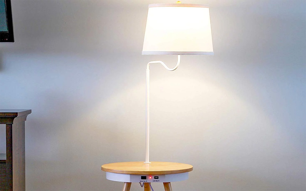 This Nightstand Integrates A Lamp Wireless Charging And Usb