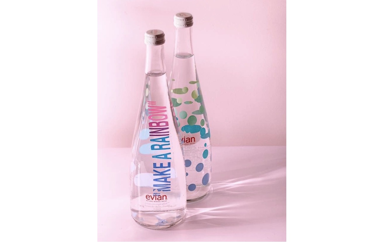 Evian x Virgil Abloh Limited Edition glass bottle duo 1