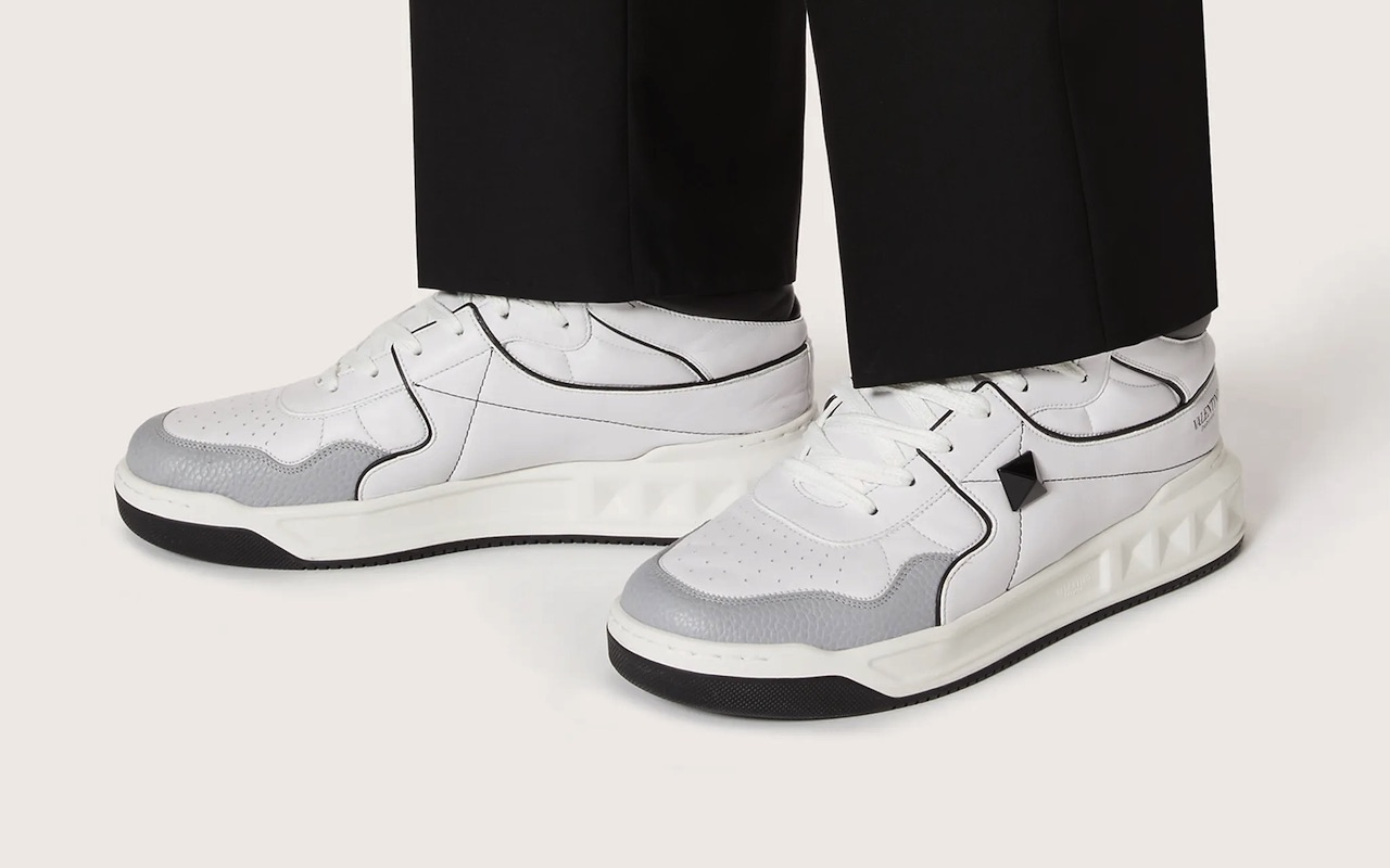 Valentino One Stud Calfskin Sneakers Black White