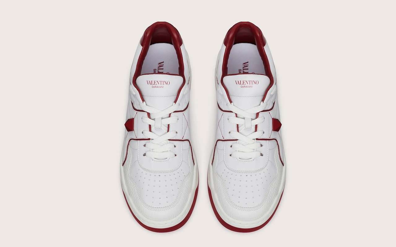 Valentino One Stud Calfskin Sneakers Red White