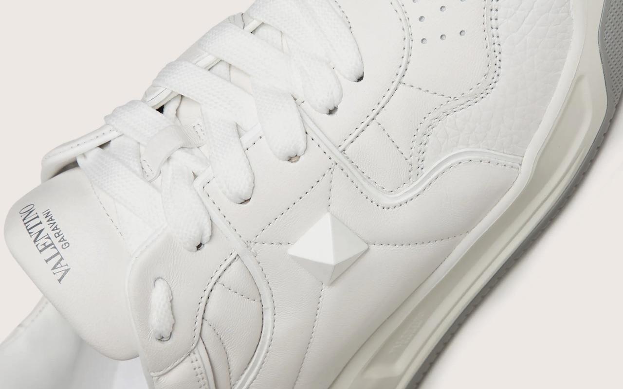 Valentino One Stud Calfskin Sneakers White