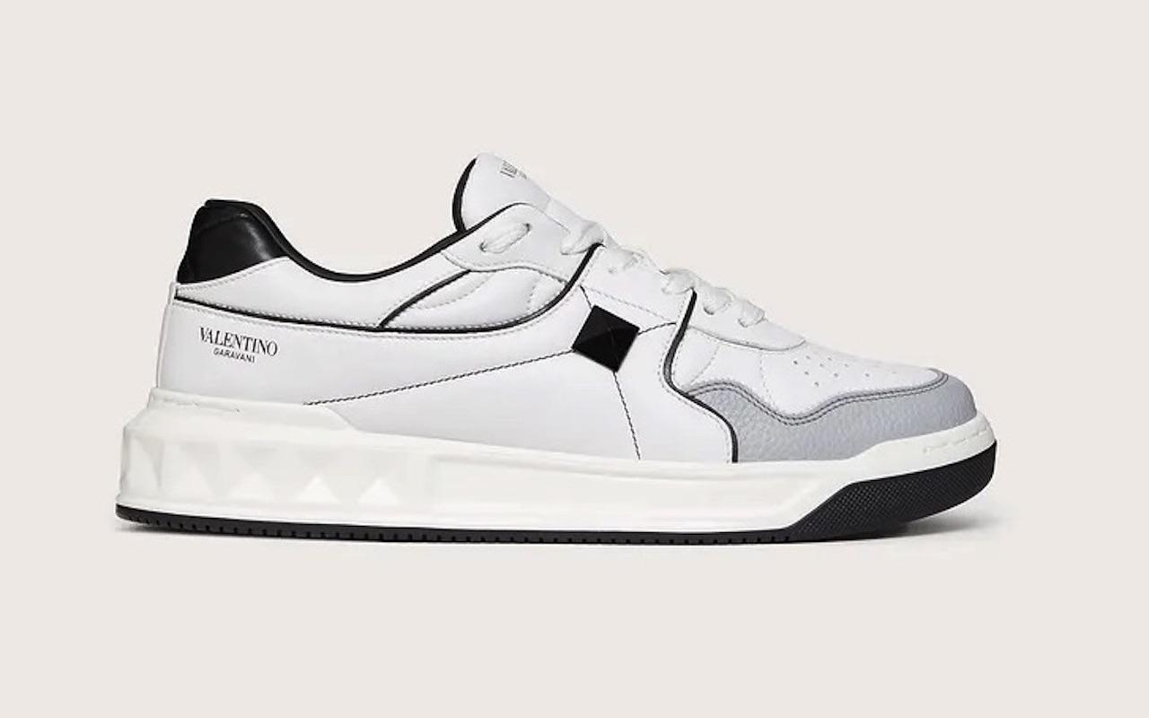 Valentino One Stud Calfskin Sneakers