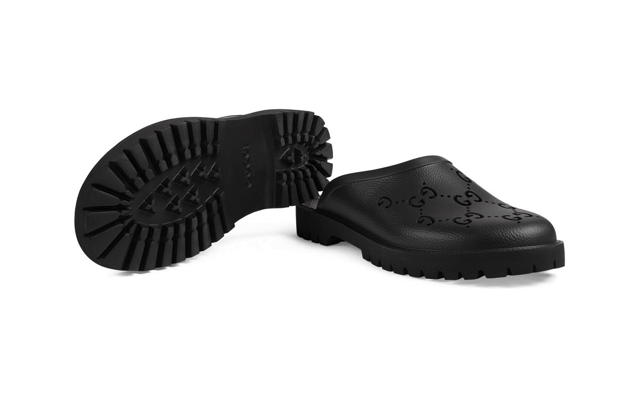 Gucci Mens Rubber Mules Black Where to Buy