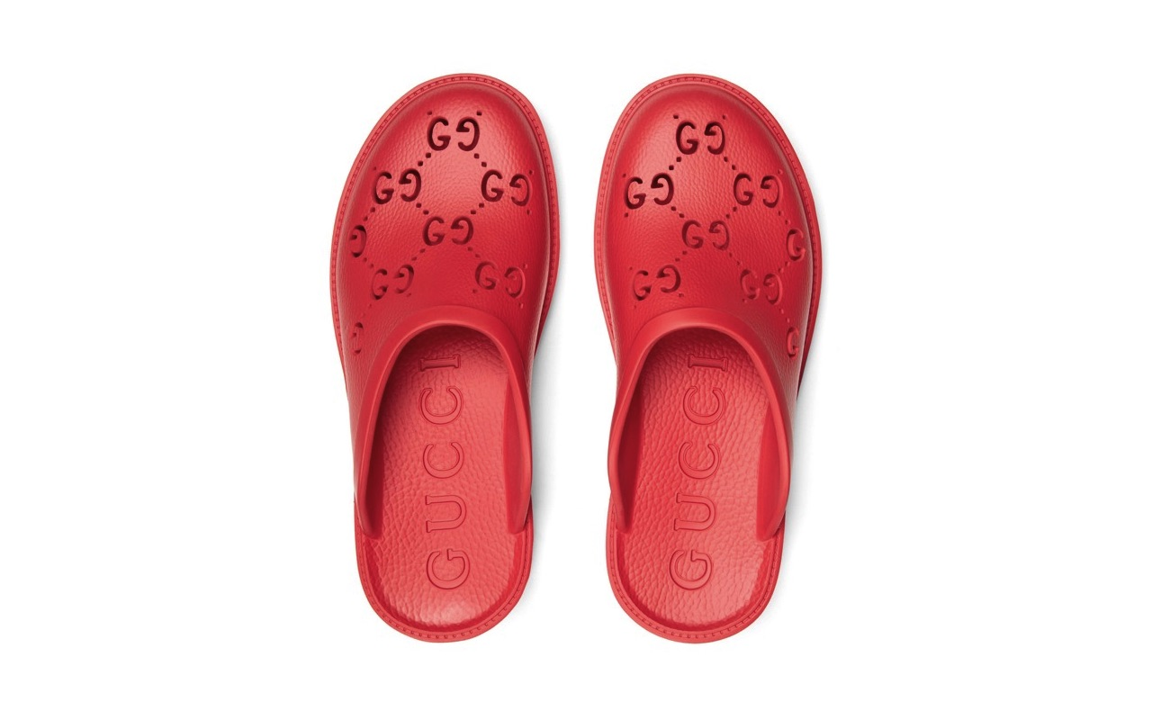 Red Gucci Mens Rubber Mules