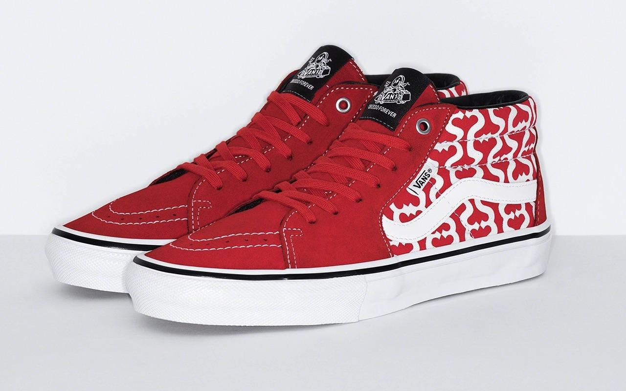 Supreme x Vans Skate Grosso Mid Spring 2021 Red