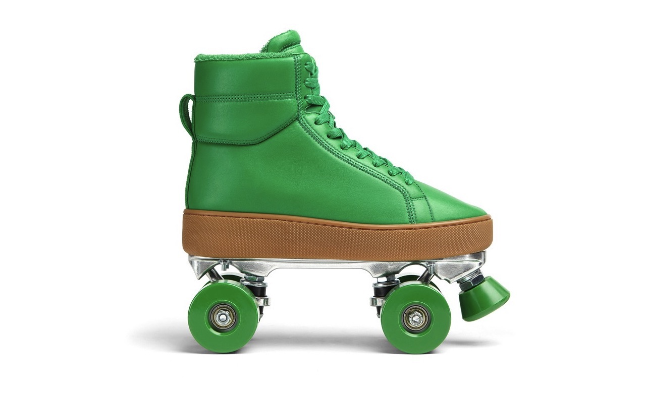 Bottega Veneta Quilt Roller Skates Grass