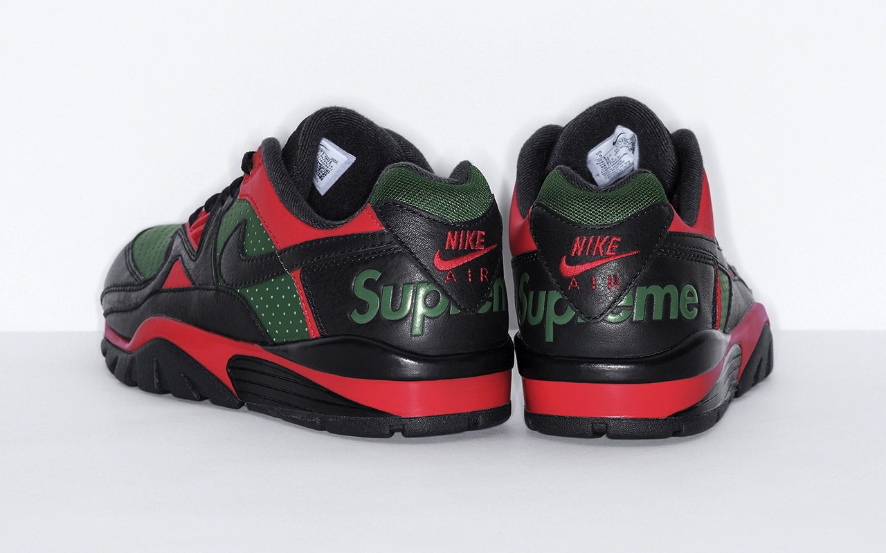 Supreme x Nike Cross Trainer Low Fall 2021 Black Gorge Green University Red Design